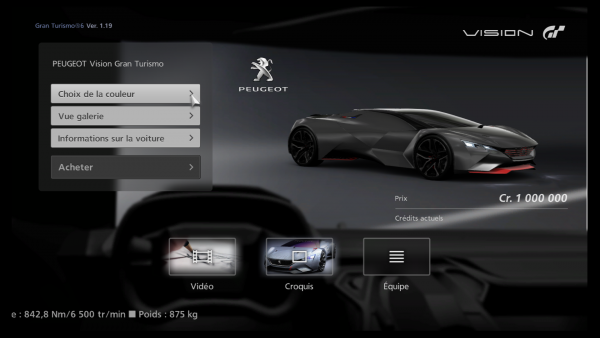 la peugeot vision gran turismo disponible dans gt6 les. Black Bedroom Furniture Sets. Home Design Ideas